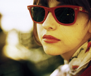 girl, sunglasses, and red image