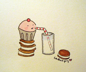 cakespy, milk and cookies, and Cookies image