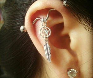 piercing, industrial, and ear image