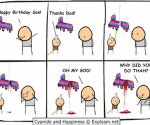 birthday, comic, and cyanide and happiness image