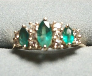diamond ring, green ring, and emerald ring image