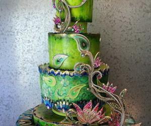 cake, peacock, and food image
