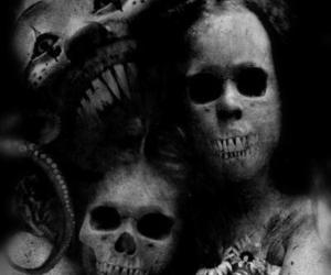 black and white and skull image