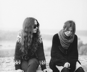 black and white, friends, and cold image
