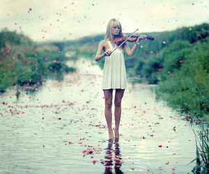girl, violin, and music image