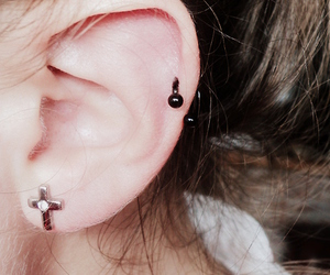 ear, earring, and piercing image