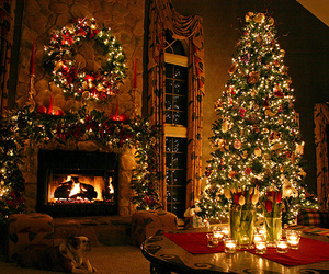candles, christmas tree, and fireplace image