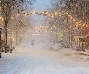 lights, snow, and snowy image