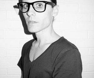 jared leto, black and white, and glasses image