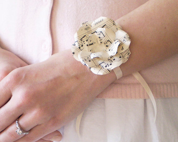 Sheet music wrist corsage ivory paper flower by smilemercantile mightylinksfo