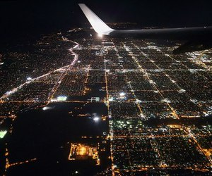 night, plane, and airplane image