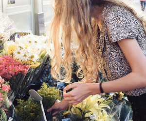 girl, flowers, and floral image