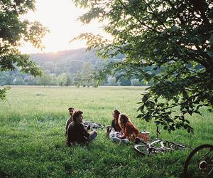 friends, nature, and bike image