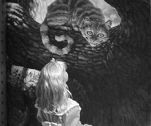 alice, cat, and wonderland image