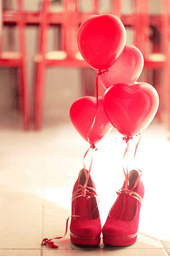balloons, pink, and heels image
