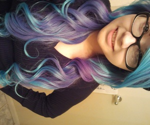 blue hair, colorful hair, and dyed image