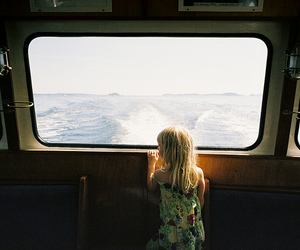 girl, ocean, and boat image