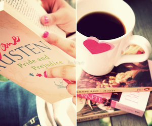 book, coffee, and jane austen image