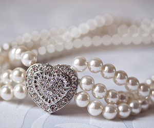 pearls, heart, and necklace image