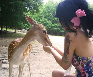 girl, tattoo, and deer image