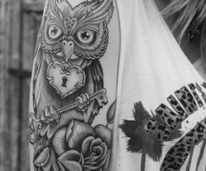 tattoo, owl, and black and white image