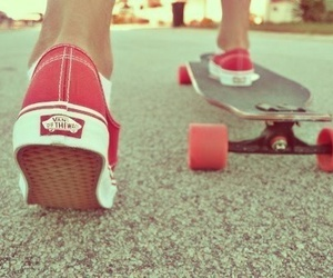 vans, skate, and red image