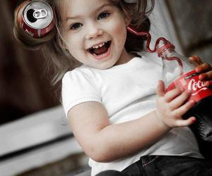 girl, baby, and coca cola image