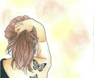 girl, draw, and butterfly image