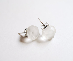 white, earrings, and accessories image
