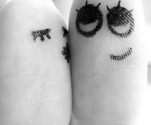 fingers, kiss, and black and white image