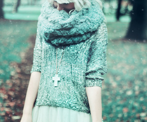 cozy, jumper, and cross necklace image