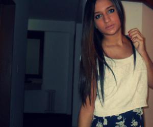 brown hair, long hair, and dress image