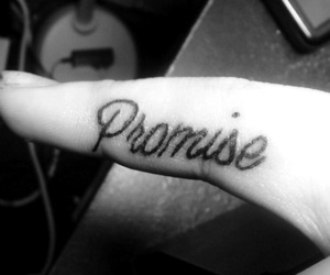 black and white, promise, and tattoo image
