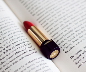red, book, and lipstick image