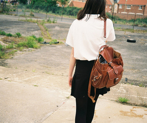 girl, fashion, and backpack image