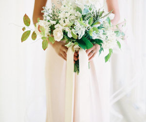 bouquet, dress, and gold image