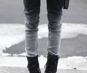 boots, jeans, and black image