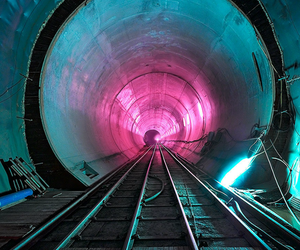 tunnel, neon, and pink image