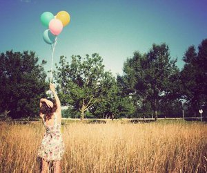 girl, balloons, and field image