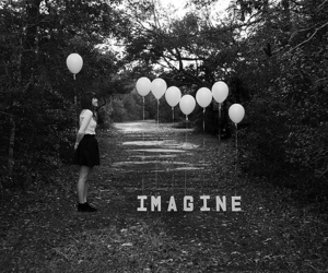 imagine, balloons, and black and white image