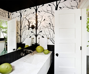 bathroom, trees, and black and white image