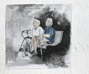 old couple, painting, and three image