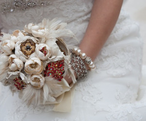 bride, jewellery, and flowers image