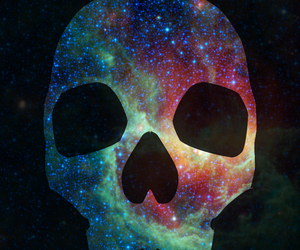clouds, galaxy, and skull image