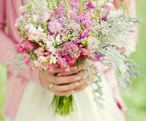 flowers, girl, and bouquet image