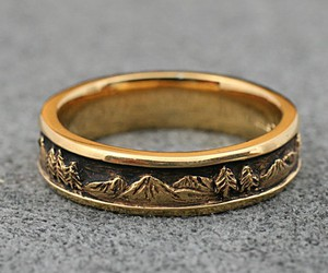 gold, ring, and mountains image