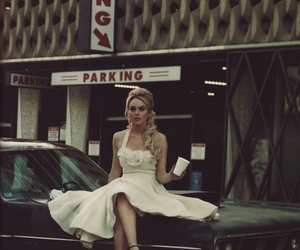 lindsay lohan, vintage, and car image