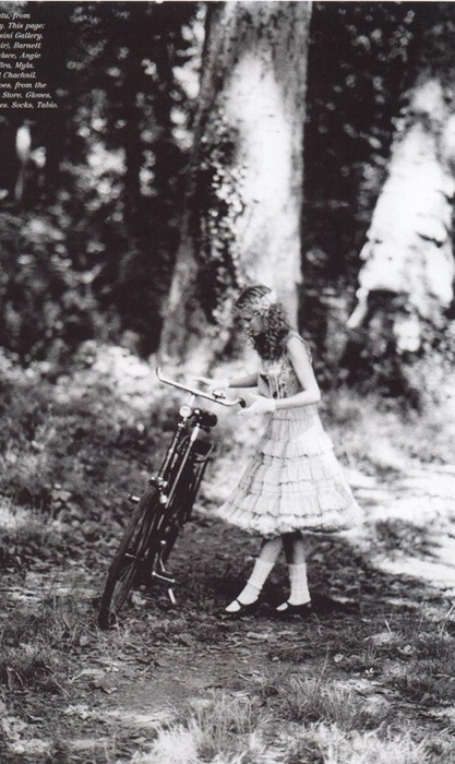 black and white, bike, and dress image