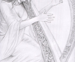celtic, drawing, and maiden image
