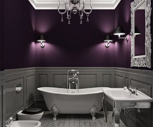 bathroom, purple, and white image